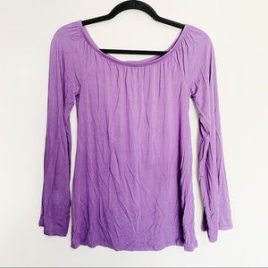 NWT White | Black Purple Long Sleeve Top, XS